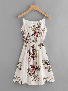 Cami Kleid mit Blumenmuster und Random Knoten