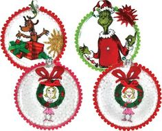Welcome to Whoville - Decoupage Ornaments. Project sheet can be found here: http://www.craftsdirect.com/default.aspx?PageID=311=583 #Grinch #Seuss #Christmas