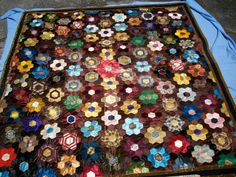 Antique silk quilt dated 1884 by TextileArtLace on Etsy