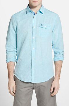 Men's Original Penguin Heritage Slim Fit Horizontal Stripe Sport Shirt