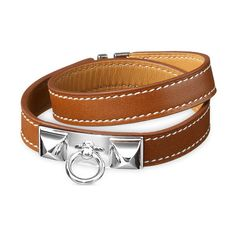 Hermès Rivale Double Tour Bracelet ($560) ❤ liked on Polyvore featuring jewelry, bracelets, hermes bangle, hermès, leather jewelry, leather bangle and hermes jewelry