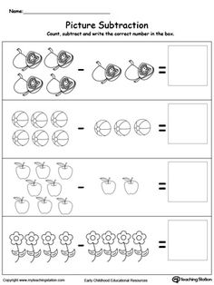 **FREE** Learn to Substract with Pictures Worksheet.Introduce subtraction basics with pictures, making it fun and easy for preschoolers to understand.