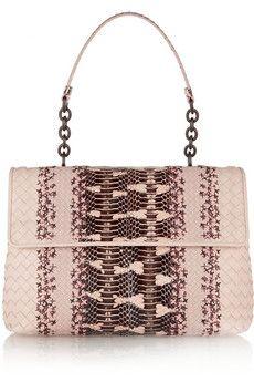 Bottega Veneta Olimpia intrecciato leather and mangrove snake shoulder bag | THE OUTNET
