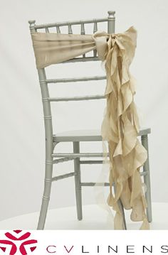 Curly willow sash with our standard satin sash in Champagne . Perfect design for any wedding reception, ceremony or event. Many colors available at www.cvlinens.com #cvlinens