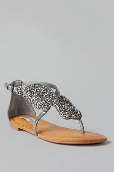 Give Me Wings Beaded Sandal in Pewter