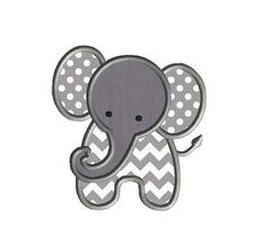 Little Elephant Applique Machine Embroidery by SewChaCha on Etsy