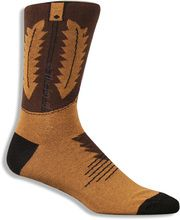 Hey.  These socks look like cowboy boots. Brown and black cowboy boot socks, by Foot Traffic for men, that would make John Wayne proud.