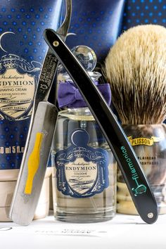 Filarmonica 12 5/8 straight razor, Penhaligon's Endymion shave cream, aftershave balm and cologne, Plisson HMW badger brush, Mar. 2, 2014: