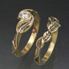 WEDDING RING SET -14k Yellow or White Gold - Delicate Leaf Engagement ring with matching Wedding Band