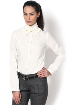 ffa6944da5c  kaaryah gathered collar shirt  white button down shirt  work outfit  indian  office