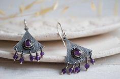 Silver earrings amethyst dangles Boho earrings Boho silver
