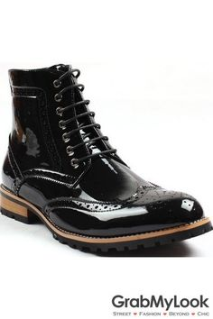 GrabMyLook Patent Glossy Black Leather Mens Lace Up Ankle Military Boots Shoes