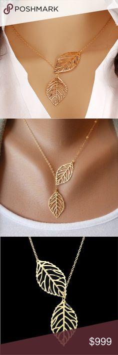 Boho Gold Double Leaf Necklace Brand new in original packaging. Dainty minimalist & trending necklace features two hollow carved gold leaves. Leaf pendants measure 2.4x4.5cm approx.  The double leaf lariat style is adjustable on a 48cm link chain w/ 5cm extender & lobster claw clasp. Made of gold color metal alloy. All sales are final, please ask all questions prior to purchasing! Jewelry Necklaces