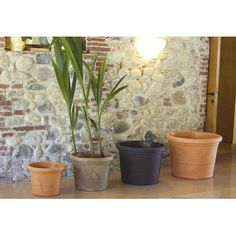 Found it at Wayfair - Round Pot Planter Resin Planters, Stone Planters, Outdoor Planters, Grain Texture, Backyard, Patio, Large Pots, Plastic Pots, Higher Design