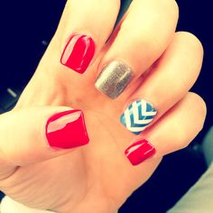 Summer nails July 4th red blue white chevron