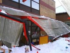 Collapsed canopies in uk on a school. Weakly made dangerous canopy. Shows that two products that might look similar can be very different.