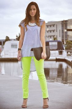 Neutral shades go well with the fluorescent jeans