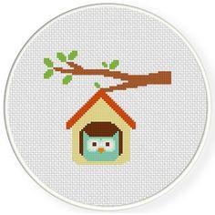 FREE Owl Home Cross Stitch Pattern