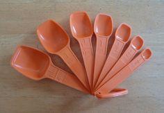 Vintage Set of 7 Tupperware Measuring Spoons in Orange Measuring Spoons, Tupperware, Orange, My Love, Etsy, Vintage, Vintage Comics, Tub