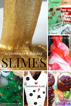 Holiday slimes are fun for kids of all ages. Slimes are sensory play and a quick science lesson too. We love slime all year round with our simple recipe.