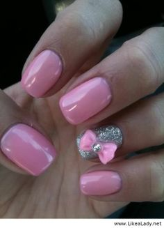 Pink and silver nails