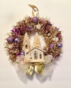 "HOLIDAY TIME CHRISTMAS TINSEL BOX BLUE W// SILVER BOW 10/"" X 10/""X 10/"" PLASTIC"
