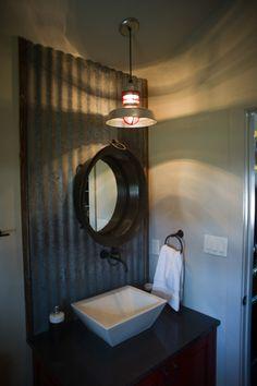 barn light fixture, tin, great mirror