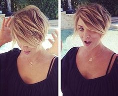 Love her hair! Kaley Cuoco Gets Pixie Haircut: Picture - Us Weekly Short Hair With Layers, Short Hair Cuts For Women, Short Hairstyles For Women, Short Hair Styles, Short Haircuts, Popular Haircuts, Short Cuts, Summer Hairstyles, Fat Girl Short Hair