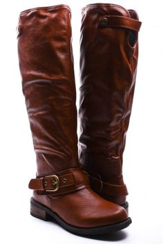 COGNAC FAUX LEATHER ROUND TO KNEE HIGH BUCKLE STRAP FINISHED BOOTS $29
