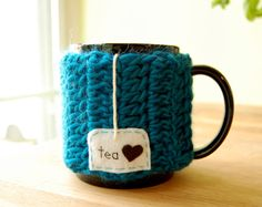 Personalized Tea Love Mug Cozy Crochet Teal Blue Cup by KnitStorm, $16.00