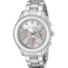 Ted Baker Dress Sport Analog Display Japanese Quartz Silver-Tone Watch ($116) ❤ liked on Polyvore featuring jewelry, watches, chronograph watches, chronograph wrist watch, chronograph watch, quartz movement watches and butterfly watches