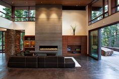 Concrete Fireplace in the Living room