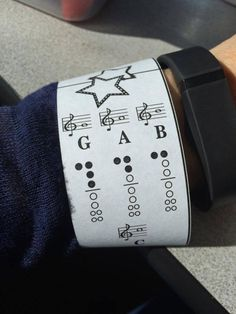 Wristbands in the music room, used to teach recorder fingerings! And, at the same time, reinforce left hand on top!