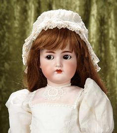 """Rendezvous Auction on Wednesday, April 26th at 7PM EST. 27"""" German bisque flirty-eyed child by Kammer and Reinhardt original body, body finish. $600/800"""