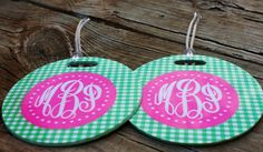 Set of TWO Round Personalized Monogrammed Bag by LoveThatMonogram, $23.00