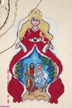Voorbeeldkaart - kerst engel - Categorie: Borduren - Hobbyjournaal uw hobby website