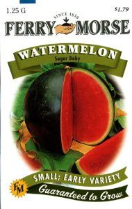 Ferry-Morse 1419 Watermelon Seeds, Sugar Baby (1.25 Gram Packet) by Ferry-Morse. $1.79. These seeds are high in vitamins A, B and C; guaranteed to grow. This Ferry-Morse seed packet contains sugar baby watermelon which the fruit can grow up to 8-pounds. 78 days to harvest. Plant 1/2-inch deep, 4-foot row spacing, and 6-foot plant spacing. Includes one, 1.25-gram packet. From the Manufacturer                Its name describes this melon perfectly; Sugar Baby's flesh is very swe...