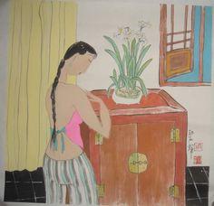 Мелок художественный в деревянном корпусе светло-зеленый