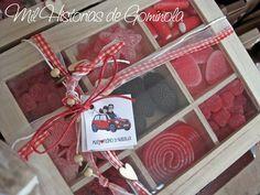 Caja chuches, gominolas, rojo, negro, boda, comunión, cumpleaños, regalo