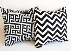 "Pair of pillow covers Two 18"" x 18"" cushion covers black and white throw pillow covers black modern decor. $34.00, via Etsy."