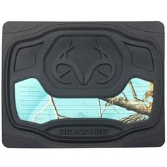 Features: Realtree Xtra Seaglass Camo fabric laminate to surface Raised Stylish pattern background with Realtree Antler logo Black Floor Mats with Mint Camo Accents Realtree Name and Antler Logo on Fr