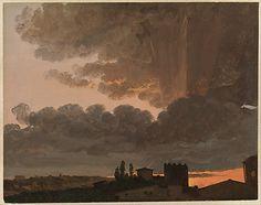 Sunset, Rome,  Simon Denis, ca. 1789-1806 / oil on paper.