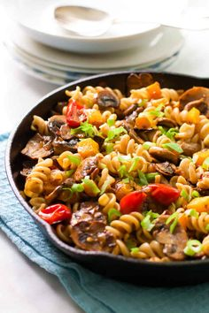 Fusilli With Mushrooms, Tomatoes, and Butternut Squash