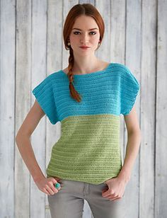 """Brighten any outfit with this airy colorblocked tee! Crocheted in Patons Grace, it is the perfect summer weight and color."""