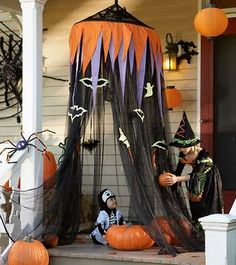 porch dressed for halloween...