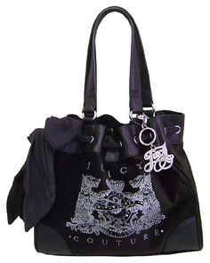 Juicy Couture Scottie Bling Daydreamer Tote Handbag Purse ~ Black In Color by bagsdy