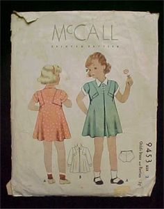 McCall 9453 | 1930s Child' Dress & Panties