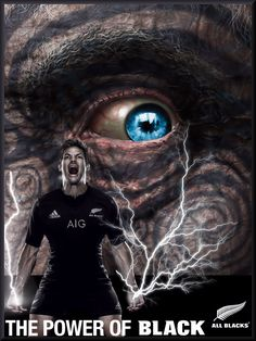 "All Blacks rugby ""The Power of Black"" poster created by Gordon Tunstall using Adobe Photoshop & Corel Paintshop Pro - 2015"