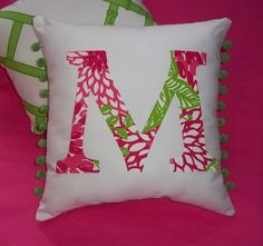 Lilly initial pillow, Etsy