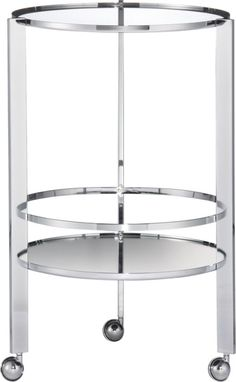 Might be a cool way to tie in the mirrors on the other side of the room - and it's a bar cart!  ernest chrome bar cart  | CB2